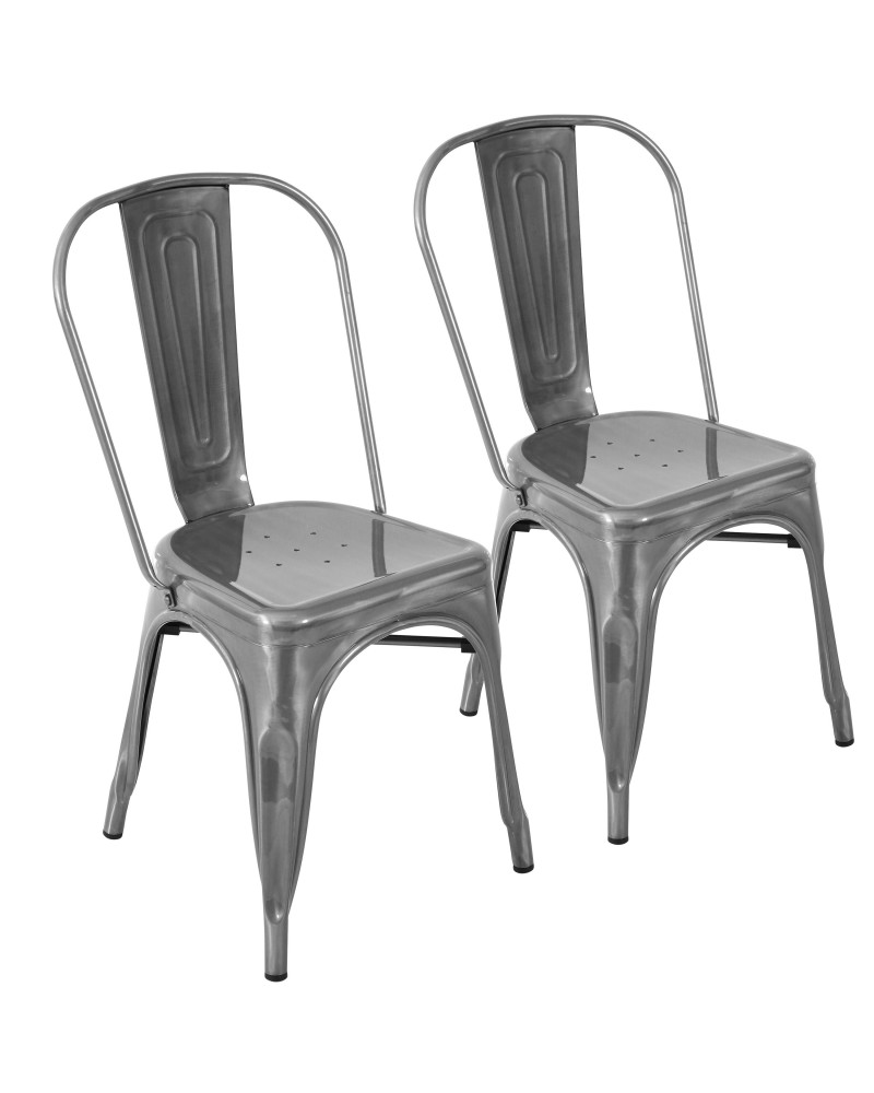 Oregon Industrial Stackable Dining Chair in Brushed Silver - Set of 2