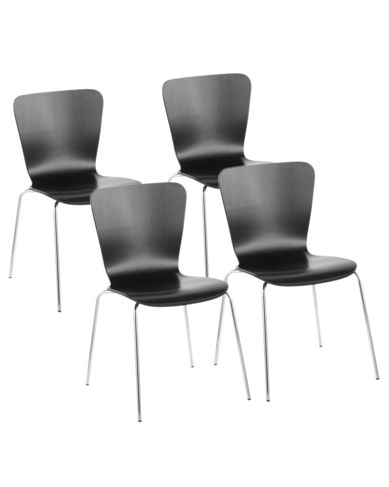 Bentwood Contemporary Stackable Dining Chair in Black Wood and Chrome - Set of 4