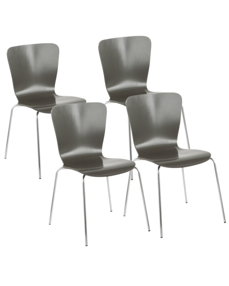 Bentwood Contemporary Stackable Dining Chair in Grey Wood and Chrome - Set of 4