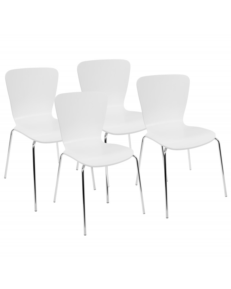 Woodstacker Contemporary Dining Chairs in White -Set of 4