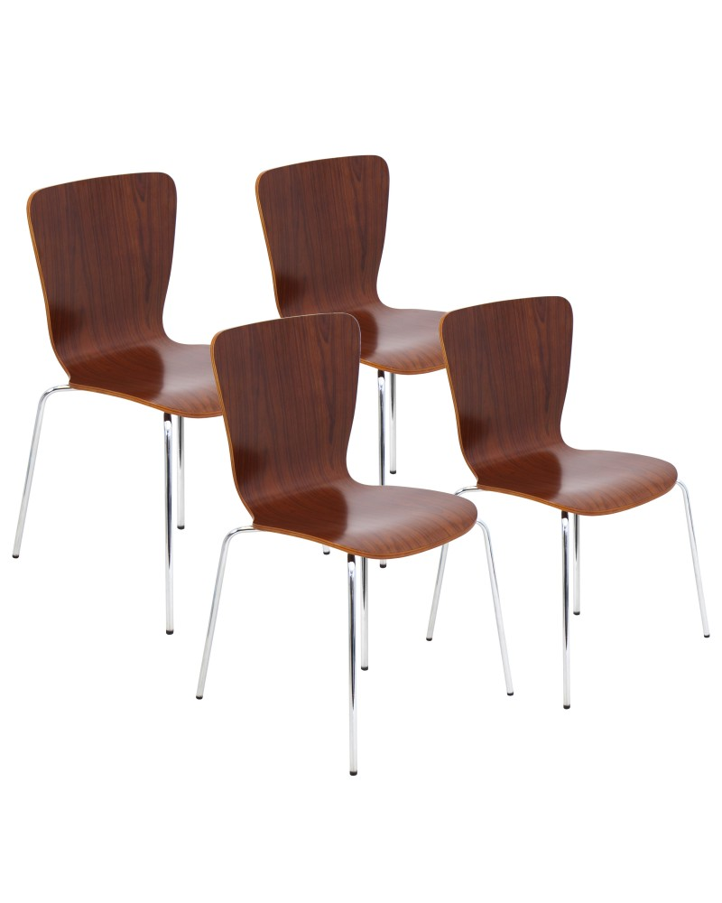Bentwood Stacker Dining Chair in Walnut - Set of 4