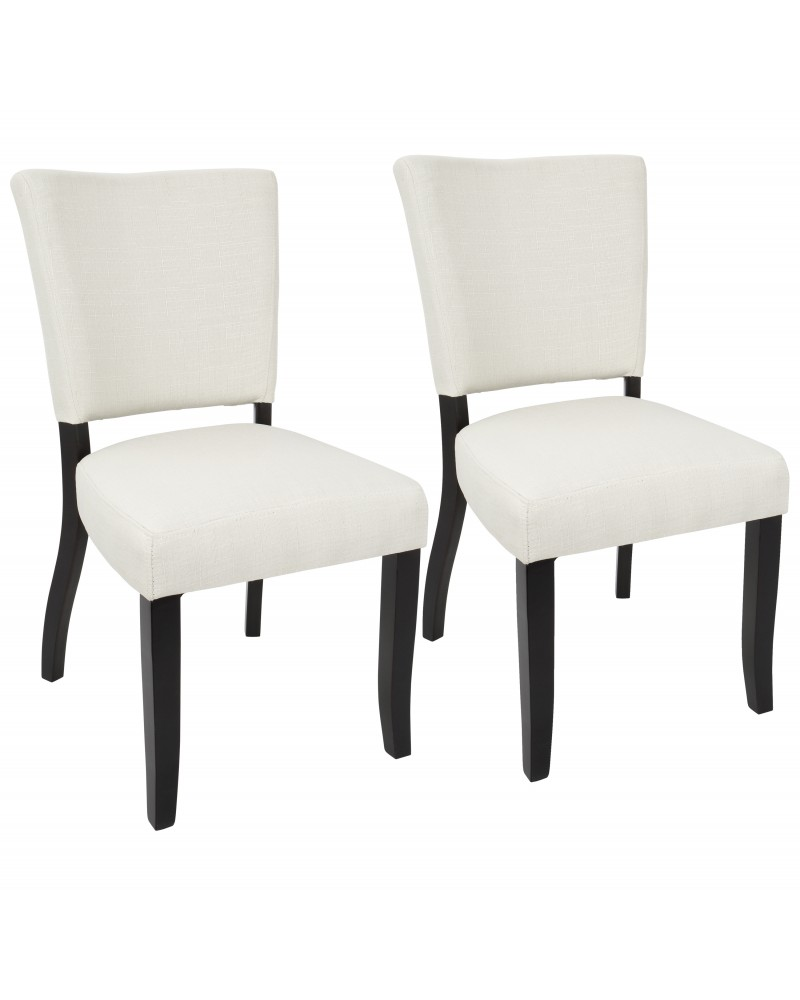 Vida Contemporary Dining Chair with Nailhead Trim in Espresso and Cream - Set of 2