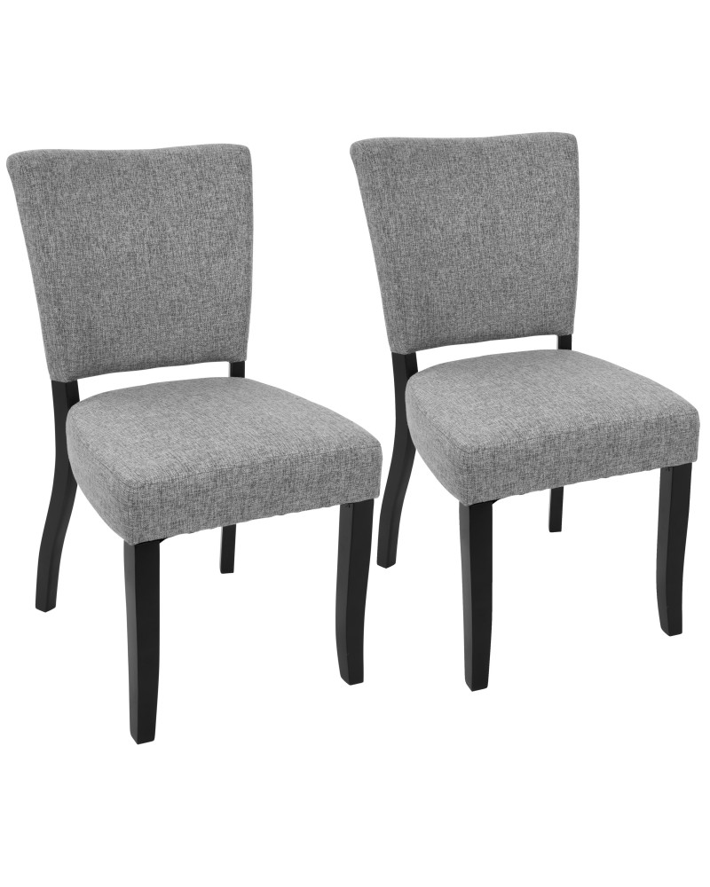 Vida Contemporary Dining Chair with Nailhead Trim in Espresso and Light Grey - Set of 2