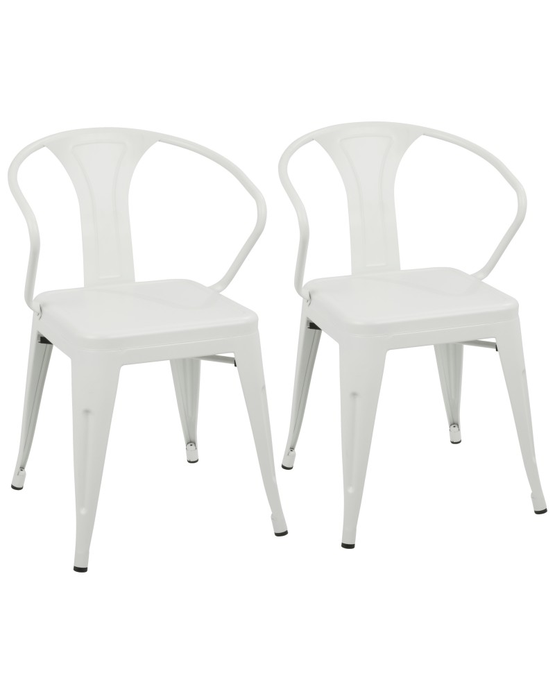 Waco Industrial Dining Chair in Vintage Cream - Set of 2