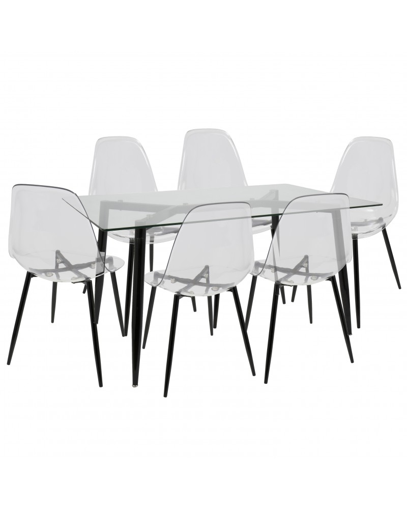 Clara 7-Piece Mid-Century Modern Dining Set in Black and Clear