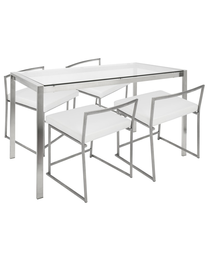 Fuji 5-Piece Contemporary Dining Set in Stainless Steel and White Faux Leather
