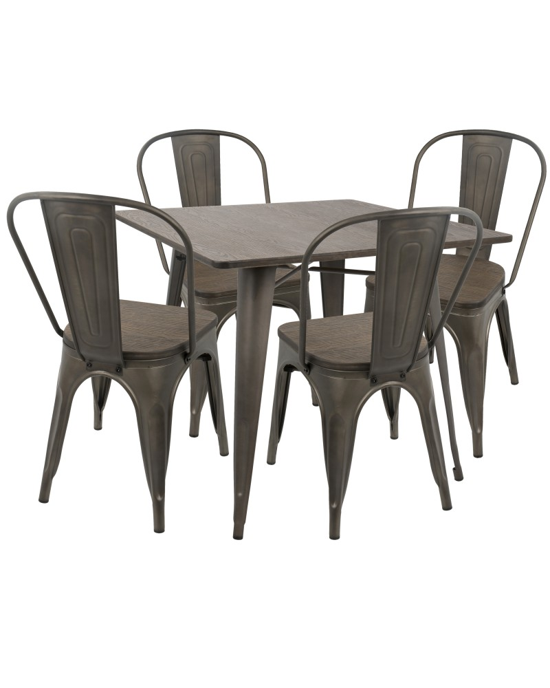 Oregon 5-Piece Industrial-Farmhouse Dining Set in Antique and Espresso
