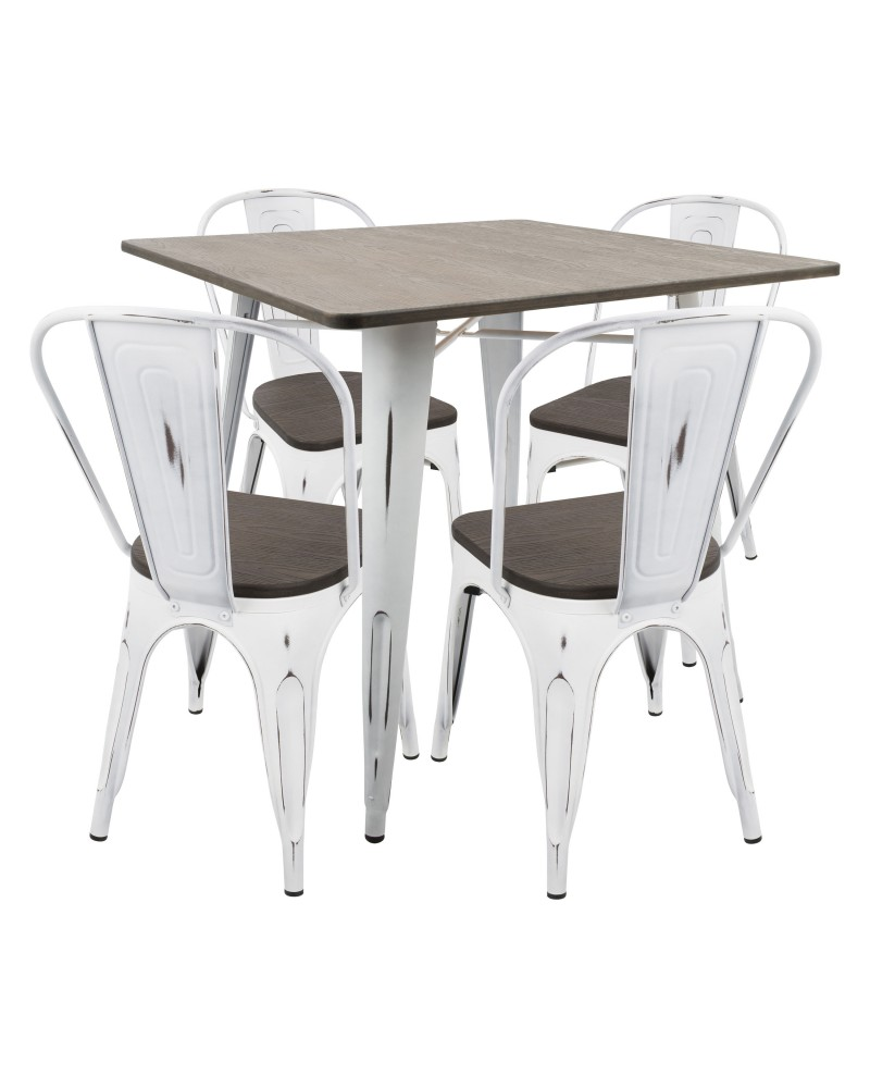 Oregon 5-Piece Industrial-Farmhouse Dining Set in Vintage White and Espresso