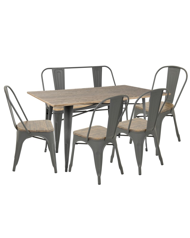 Oregon 6-Piece Industrial-Farmhouse Dining Set in Grey and Brown