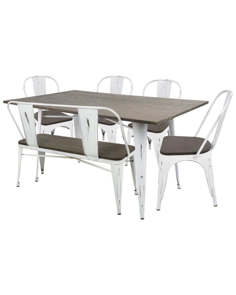 Oregon 6-Piece Industrial-Farmhouse Dining Set in Vintage White and Espresso