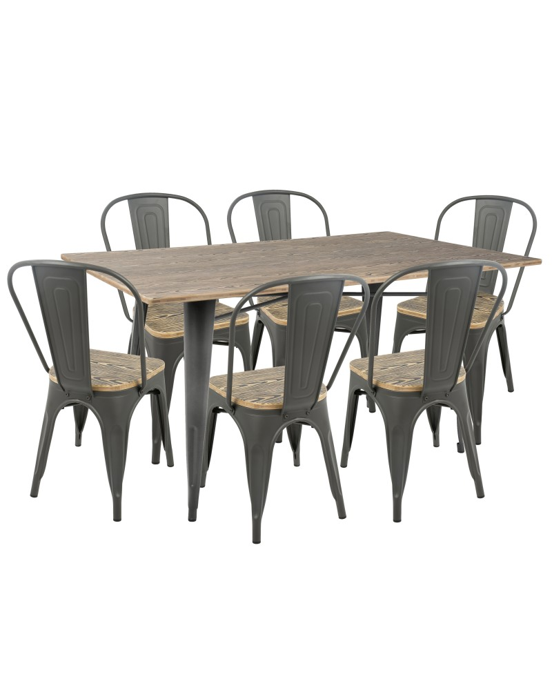 Oregon 7-Piece Industrial-Farmhouse Dining Set in Grey and Brown