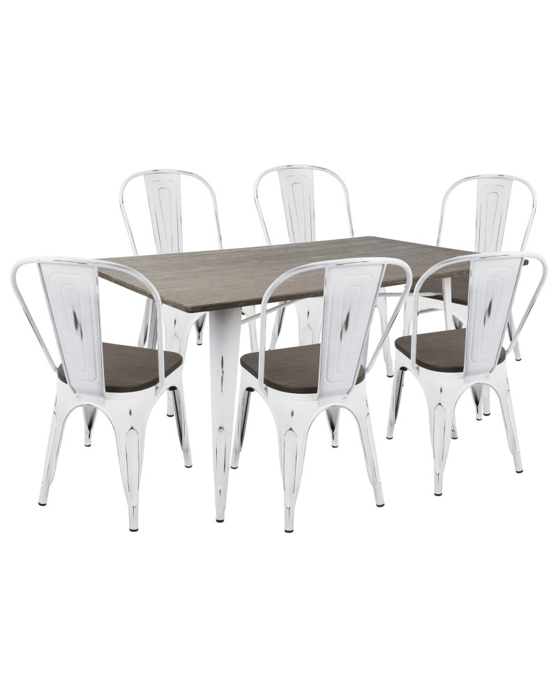 Oregon 7-Piece Industrial-Farmhouse Dining Set in Vintage White and Espresso