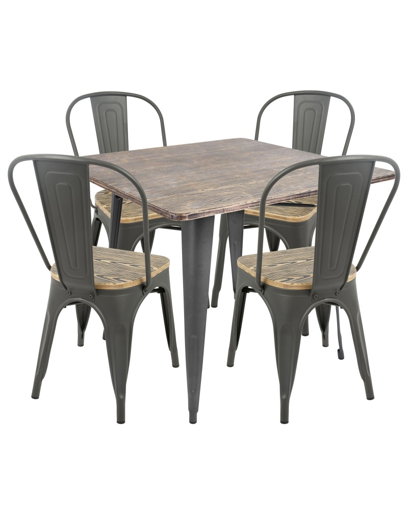 Oregon 5-Piece Industrial-Farmhouse Dining Set in Grey and Brown