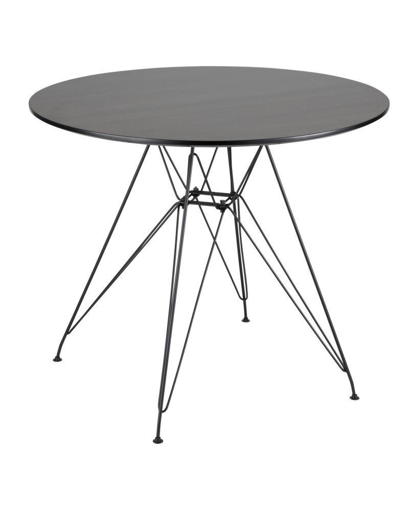 Avery Mid-Century Modern Round Dining Table in Black and Walnut
