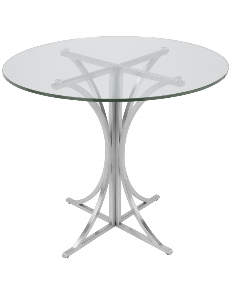 Boro Contemporary Dining Table in Clear and Silver