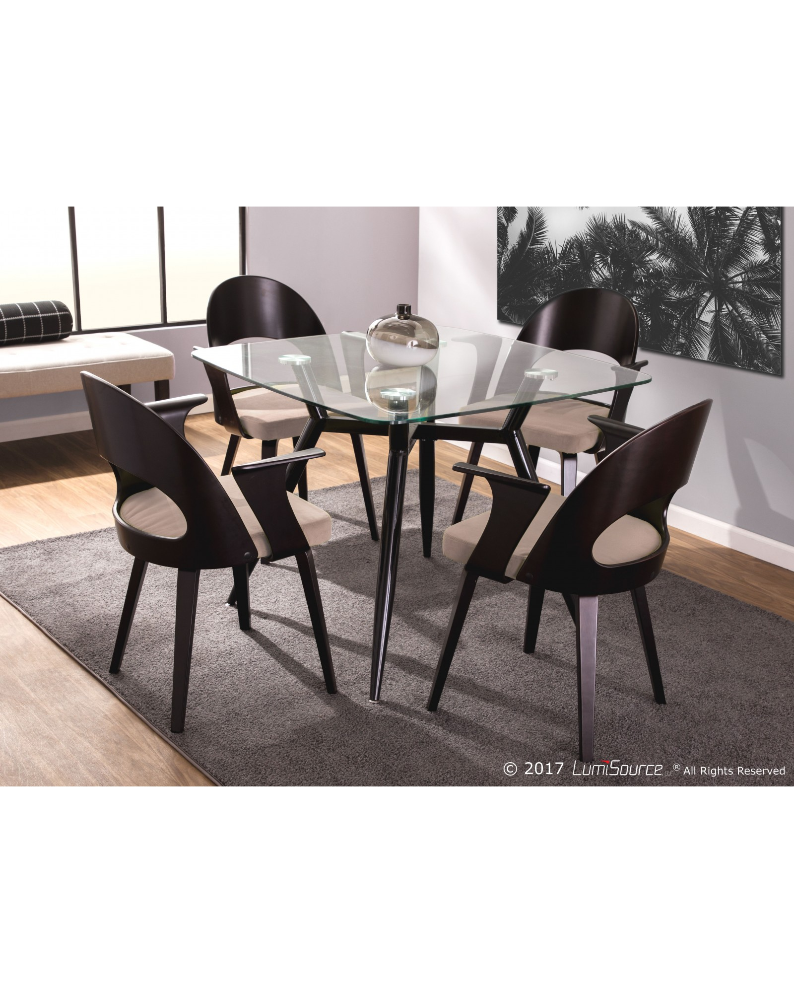 Clara Dining Table Clara Mid Century Modern Square Dining Table With Black Metal Legs And Clear Glass Top Huntington Beach Furniture