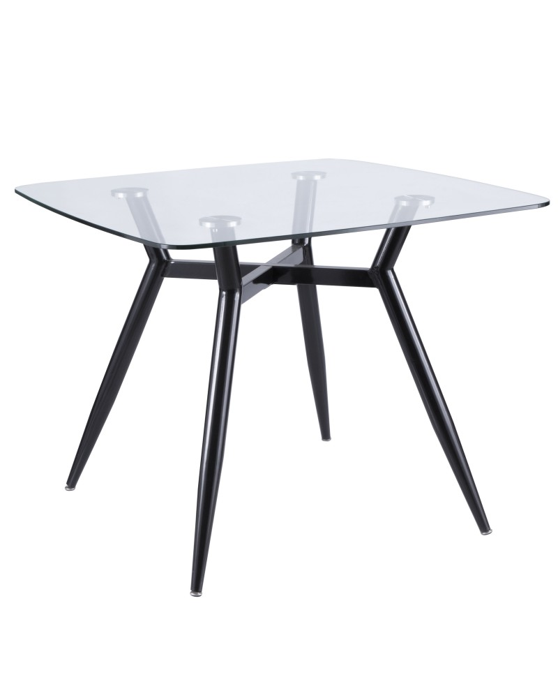 Clara Mid-Century Modern Square Dining Table with Black Metal Legs and Clear Glass Top