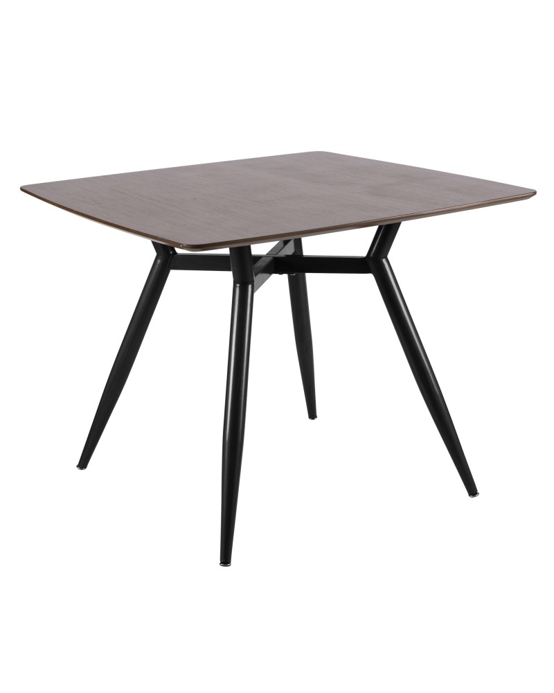 Clara Mid-Century Modern Square Dining Table with Black Metal Legs and Walnut Wood Top