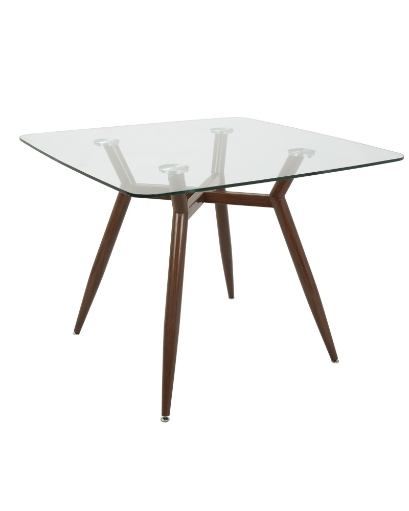 Clara Mid-Century Modern Square Dining Table with Walnut Metal Legs and Clear Glass Top