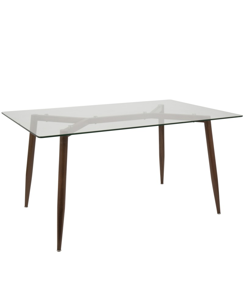Clara Mid-Century Modern Dining Table in Walnut and Clear
