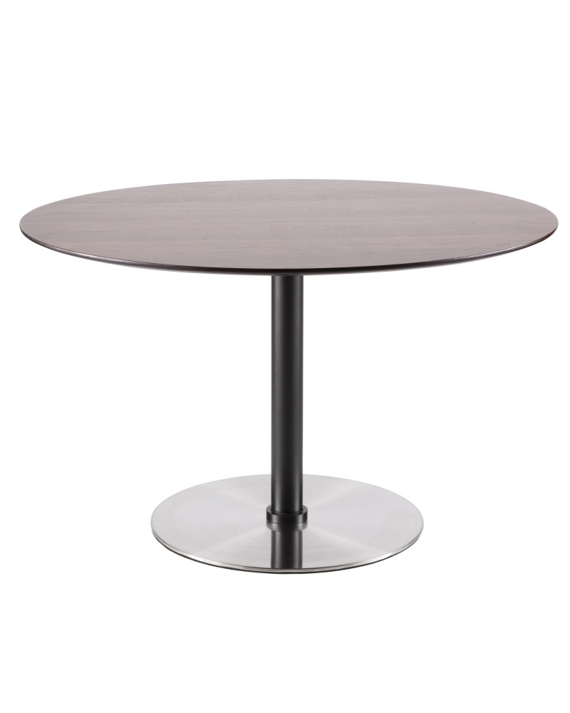 Dillon Mid-Century Modern Dining Table in Walnut and Stainless Steel