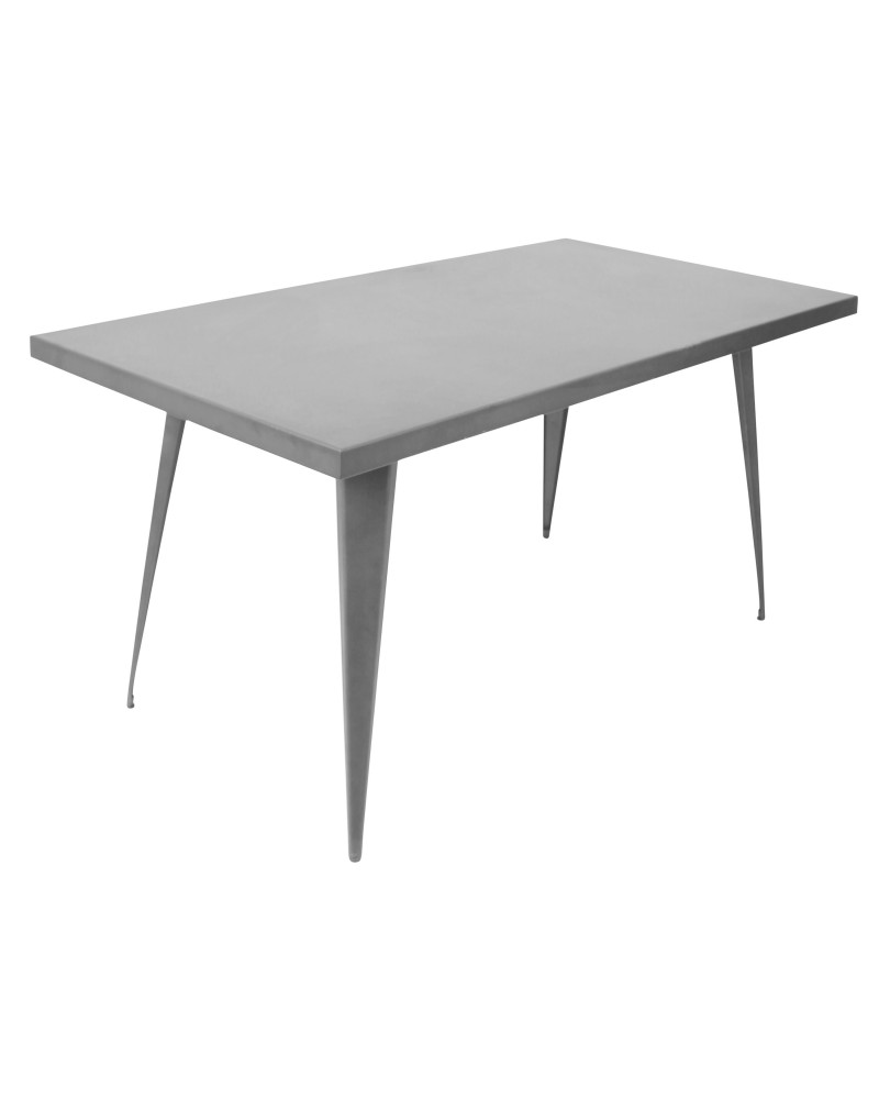 Austin Industrial Dining Table in Matte Grey