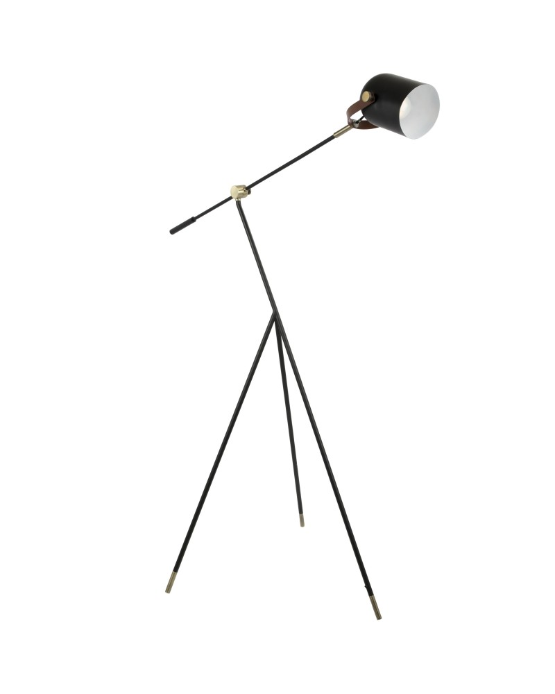 Hayward Industrial Tripod Floor Lamp in Black with Gold Accents