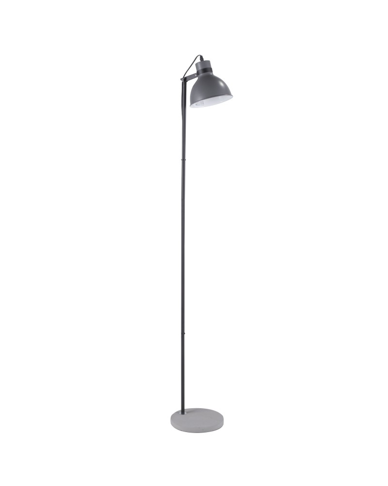 Concrete Industrial Floor Lamp in Black and Grey