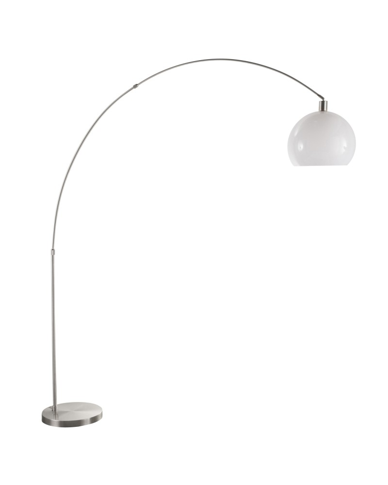 Decco Modern Arched Floor Lamp in Satin Nickel with White Shade