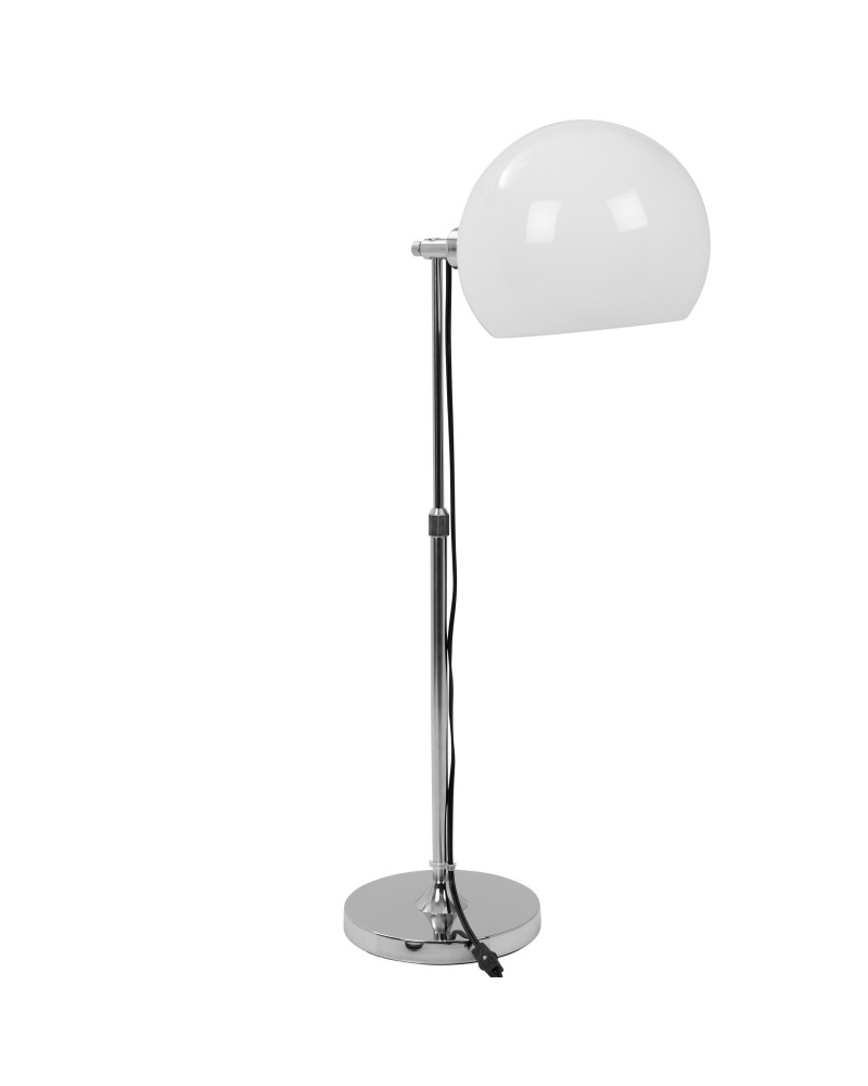 Decco Contemporary Adjustable Table Lamp in Chrome with White Shade