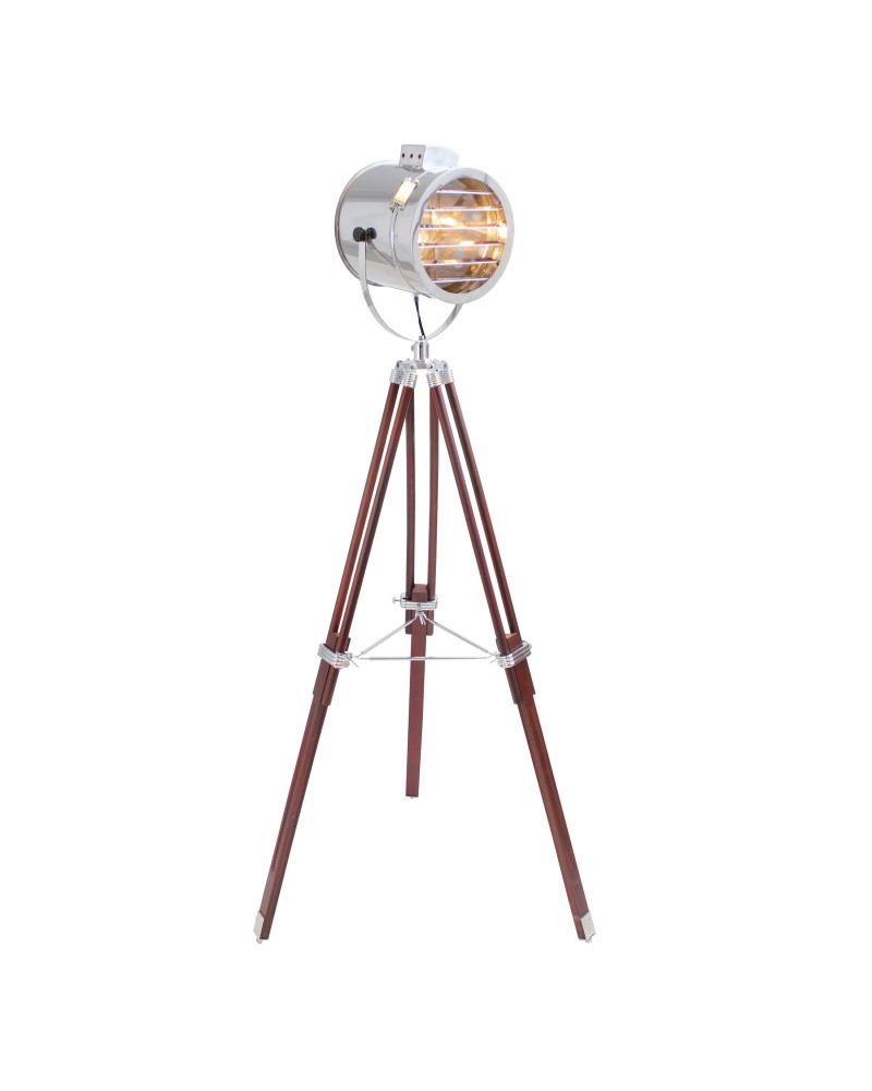 Ahoy Contemporary Floor Lamp in Cherry and Chrome