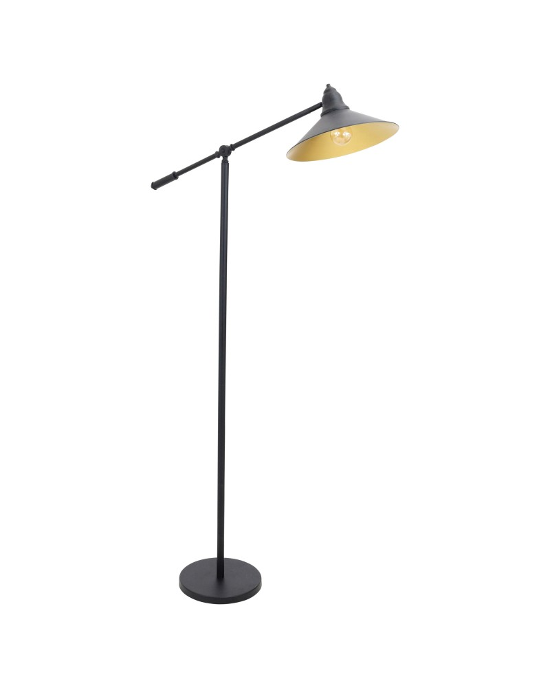 Paddy Industrial Floor Lamp in Black and Gold