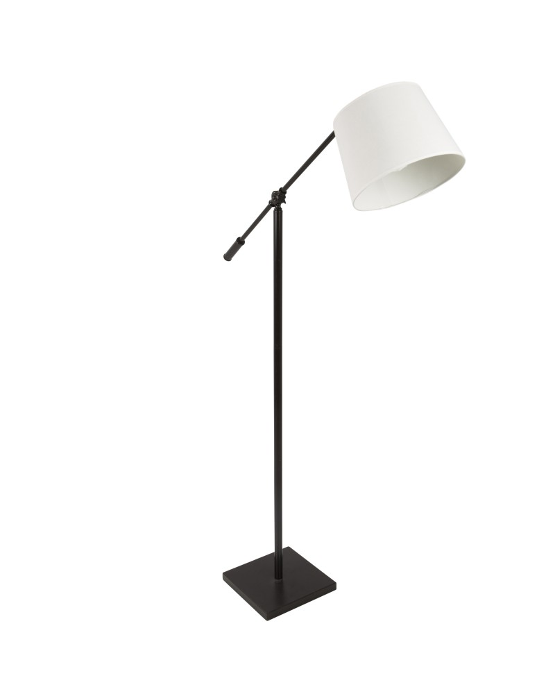 Piper Industrial Floor Lamp in Antique with Cream Shade