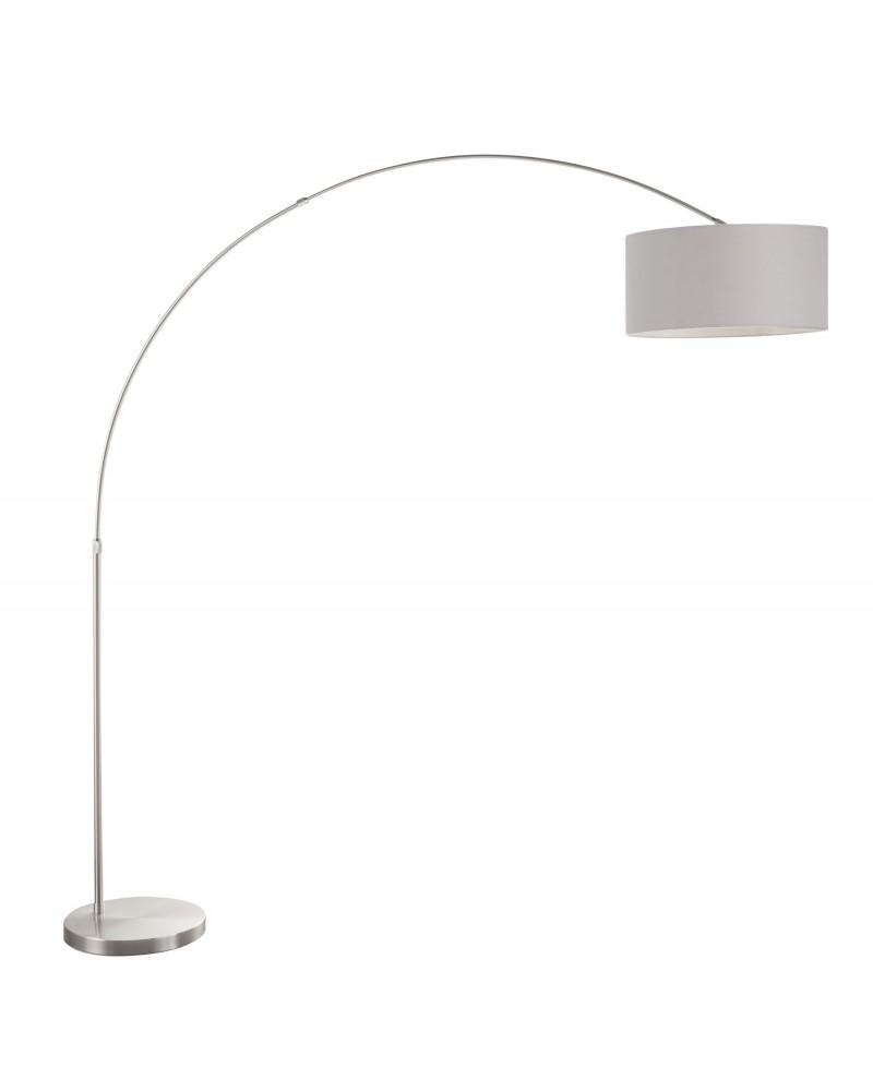 Salon Contemporary Floor Lamp with Satin Nickel Base and Grey Shade