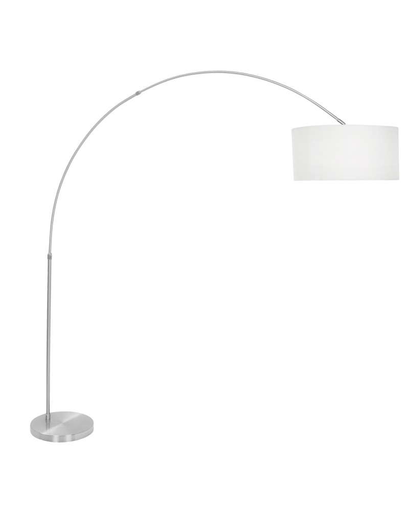 Salon Contemporary Floor Lamp with Satin Nickel Base and White Shade