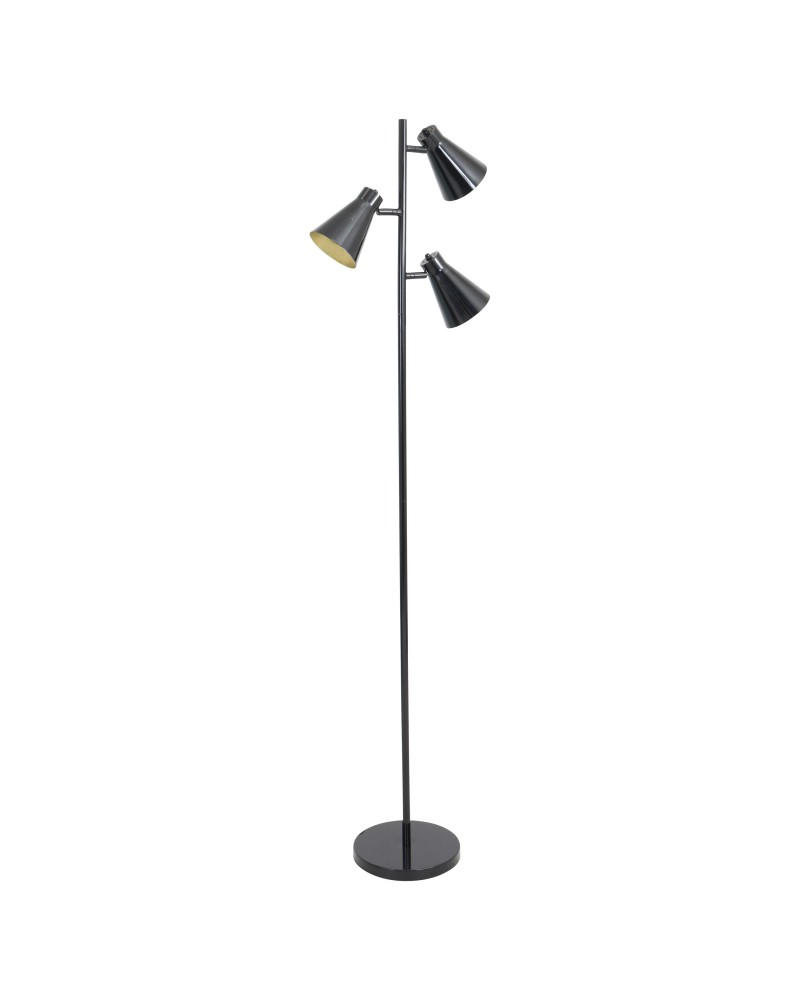 Tres Industrial Floor Lamp in Black and Gold