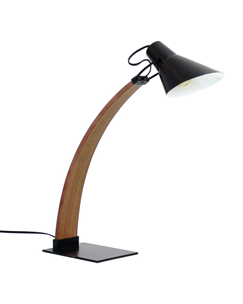 Noah Mid-Century Modern Table Lamp in Walnut and Black