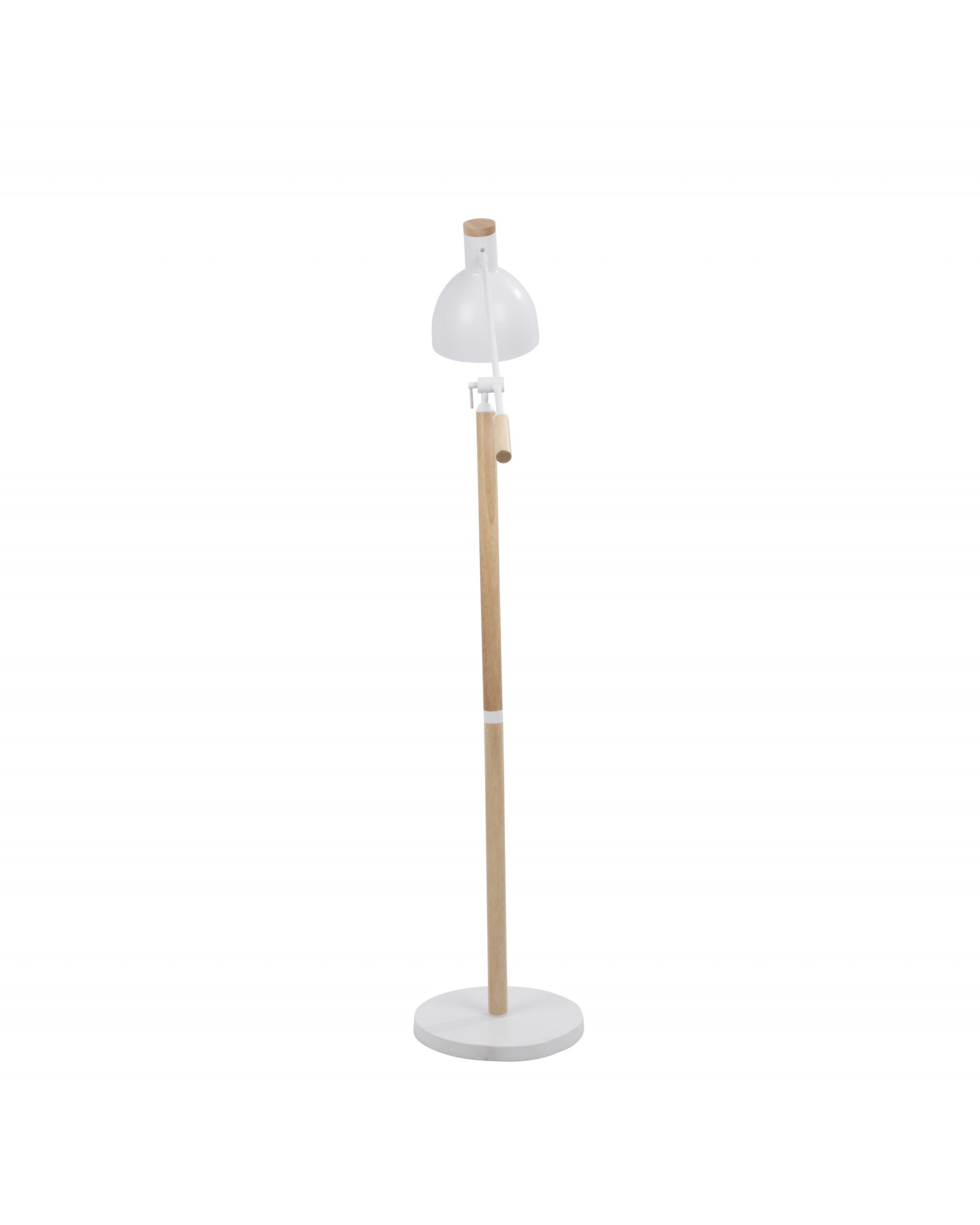 Pix Contemporary Floor Lamp in Natural Wood and Matte White