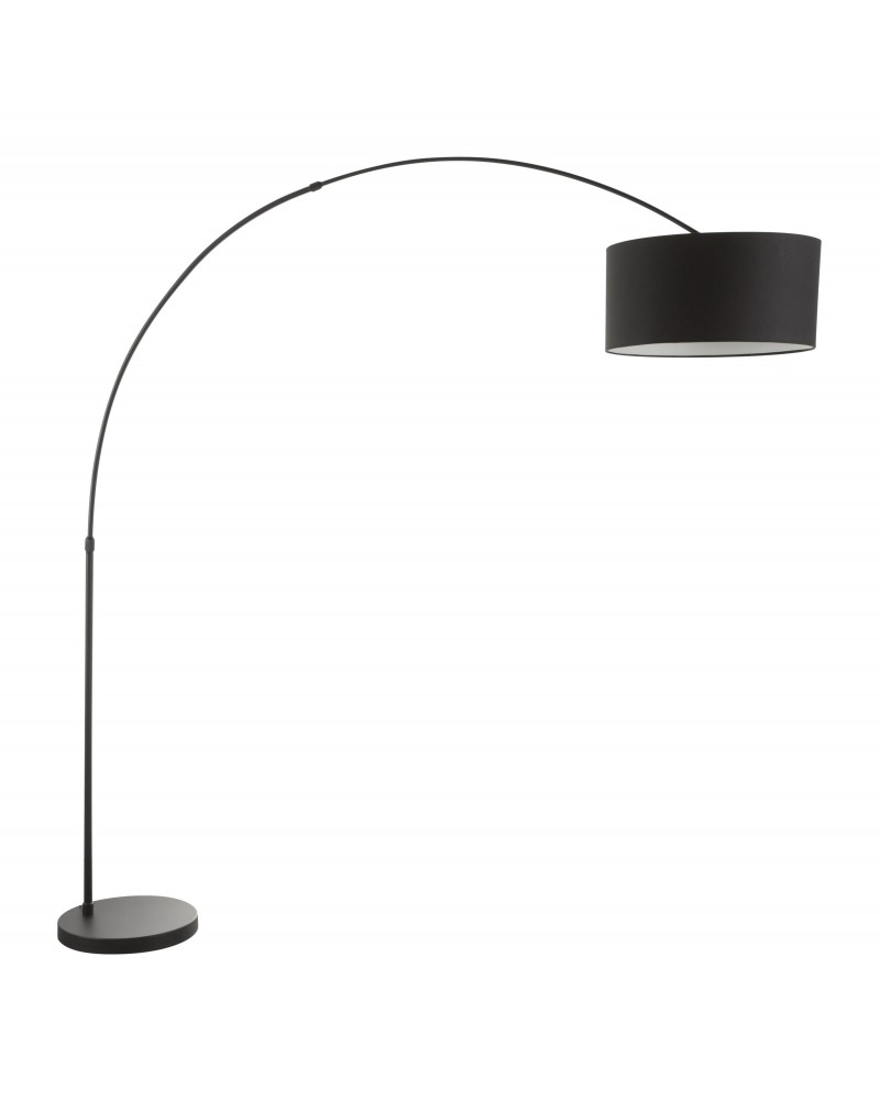 Salon Contemporary Floor Lamp with Black Base and Black Shade