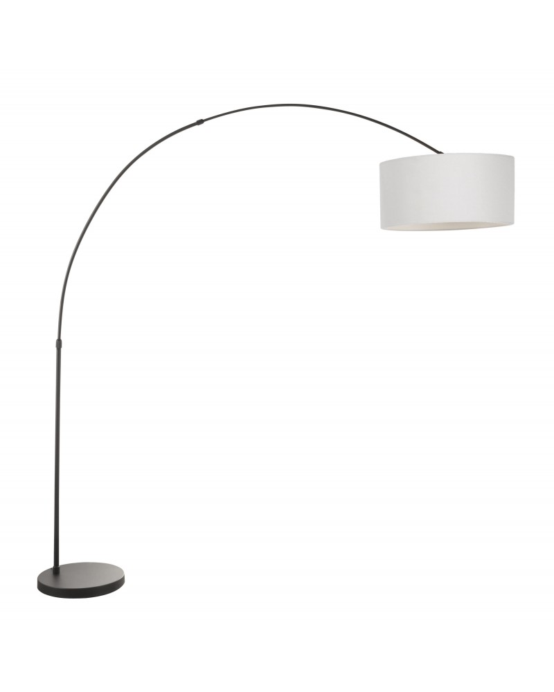 Salon Contemporary Floor Lamp with Black Base and Grey Shade