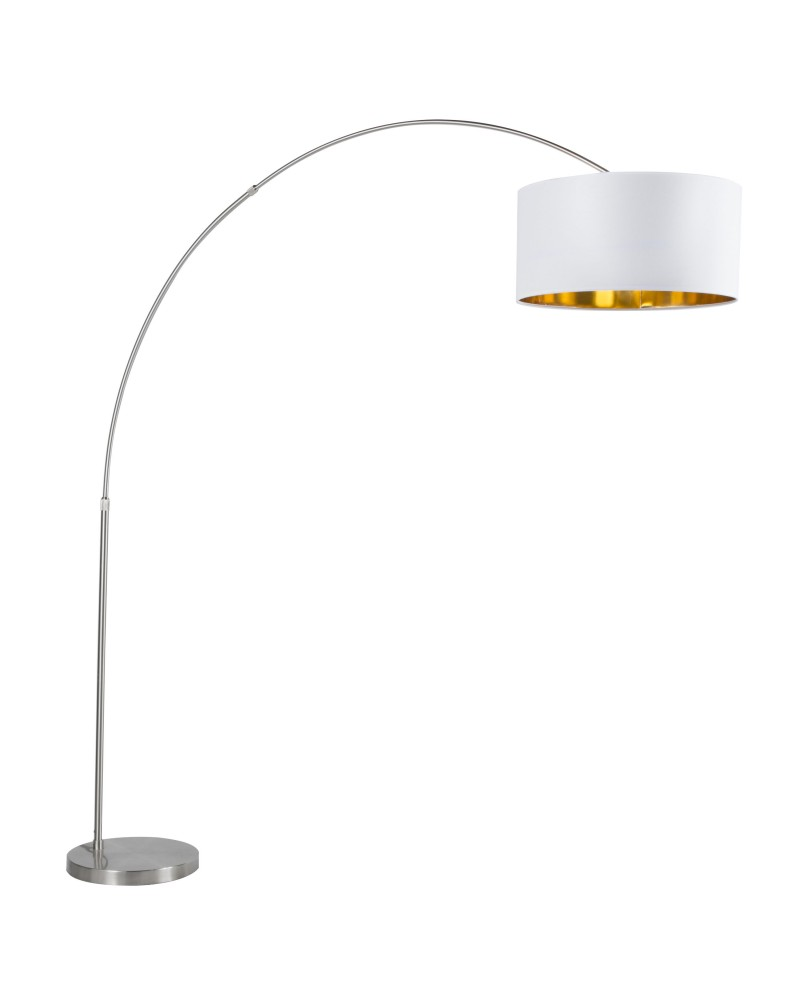 Salon Contemporary Floor Lamp with Satin Nickel Base and White Shade with Gold Accent