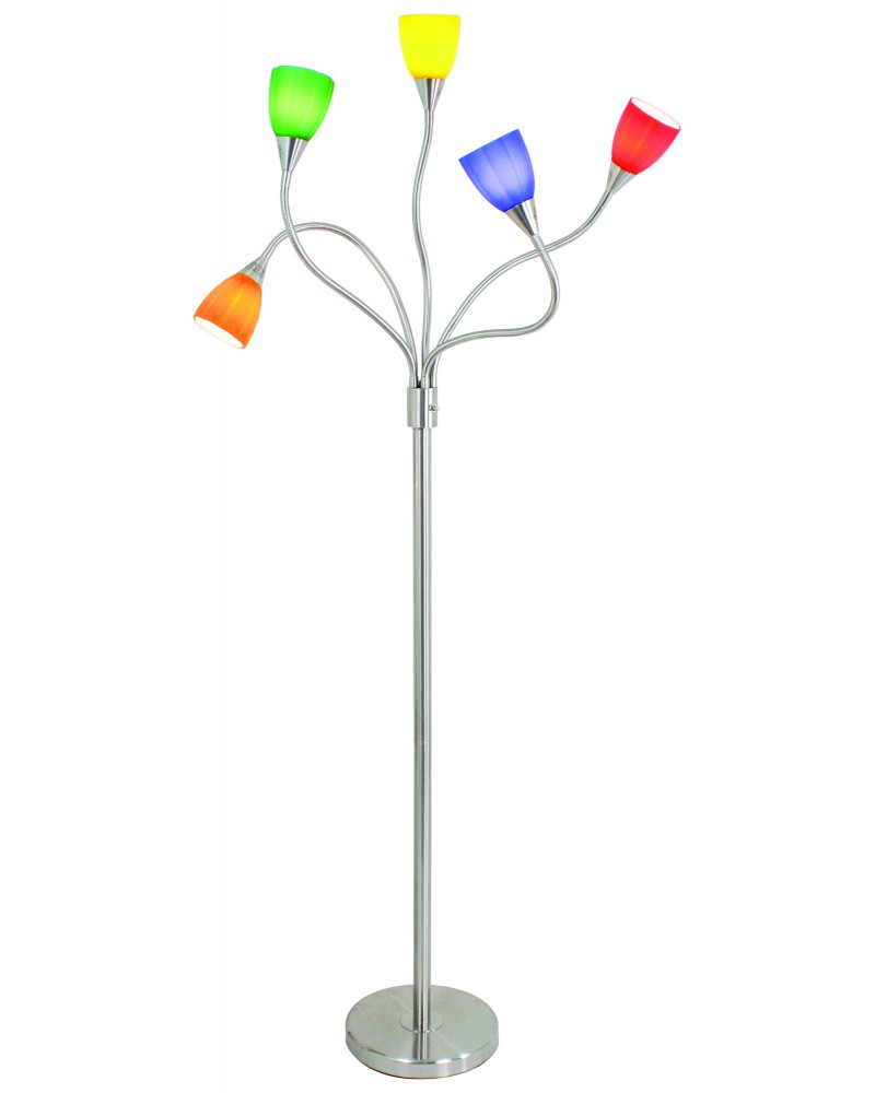 Medusa Contemporary Floor Lamp with Colored Sconces