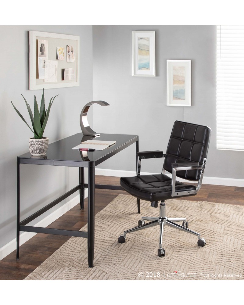 Bureau Contemporary Office Chair with Chrome Metal and Black Faux Leather