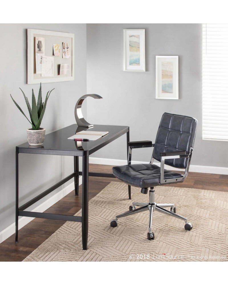 Bureau Contemporary Office Chair with Chrome Metal and Navy Blue Faux Leather