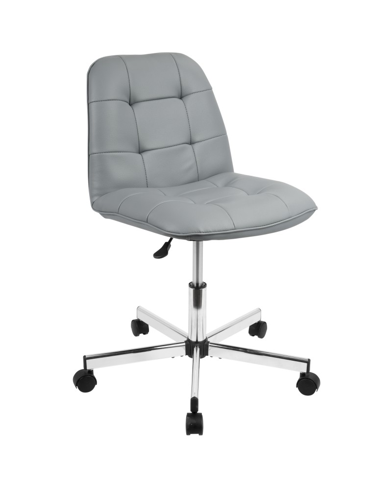 Cora Contemporary Task Chair in Grey Faux Leather
