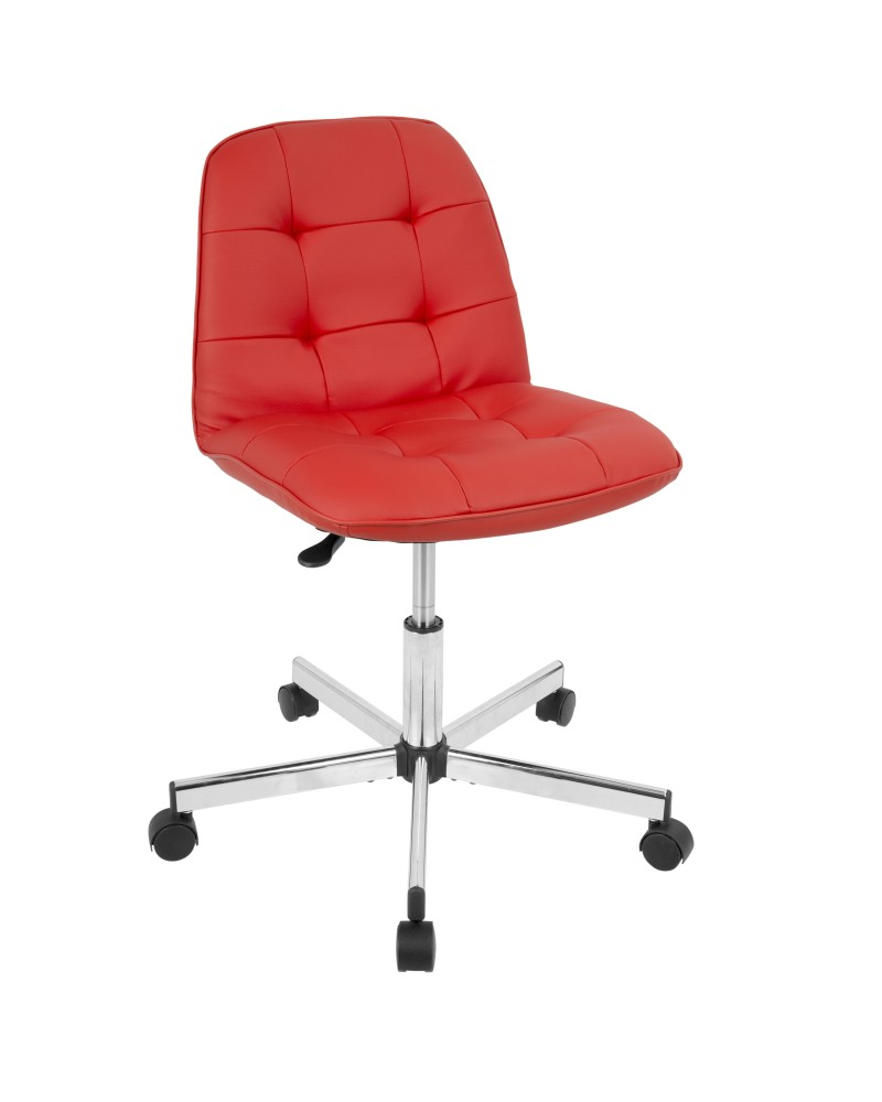 Cora Contemporary Task Chair in Red Faux Leather