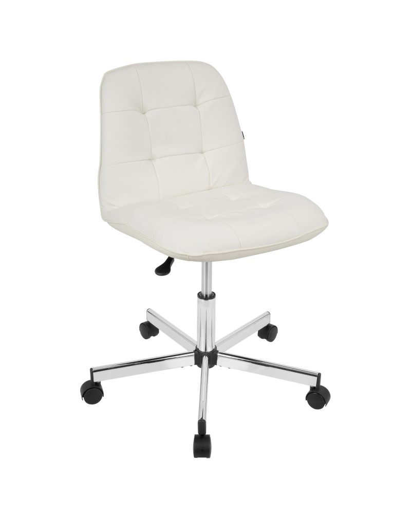 Cora Contemporary Task Chair in White Faux Leather