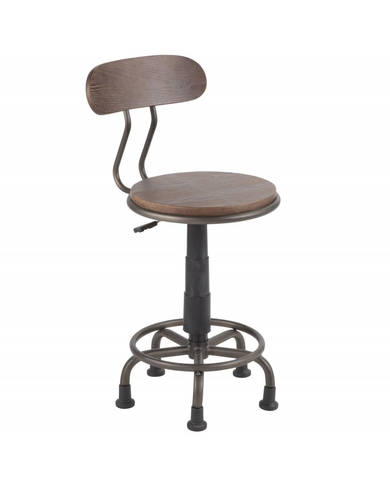 Dakota Industrial Task Chair in Antique Metal and Espresso Wood