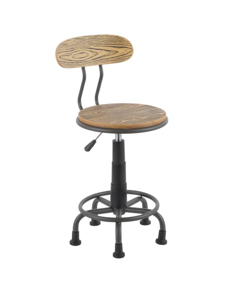 Dakota Industrial Task Chair in Grey Metal and Natural Wood