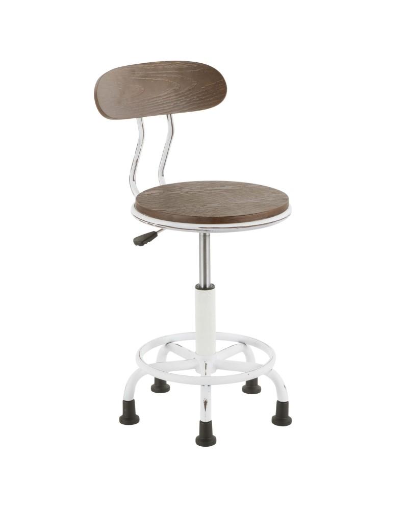 Dakota Industrial Task Chair in Vintage White Metal and Espresso Wood